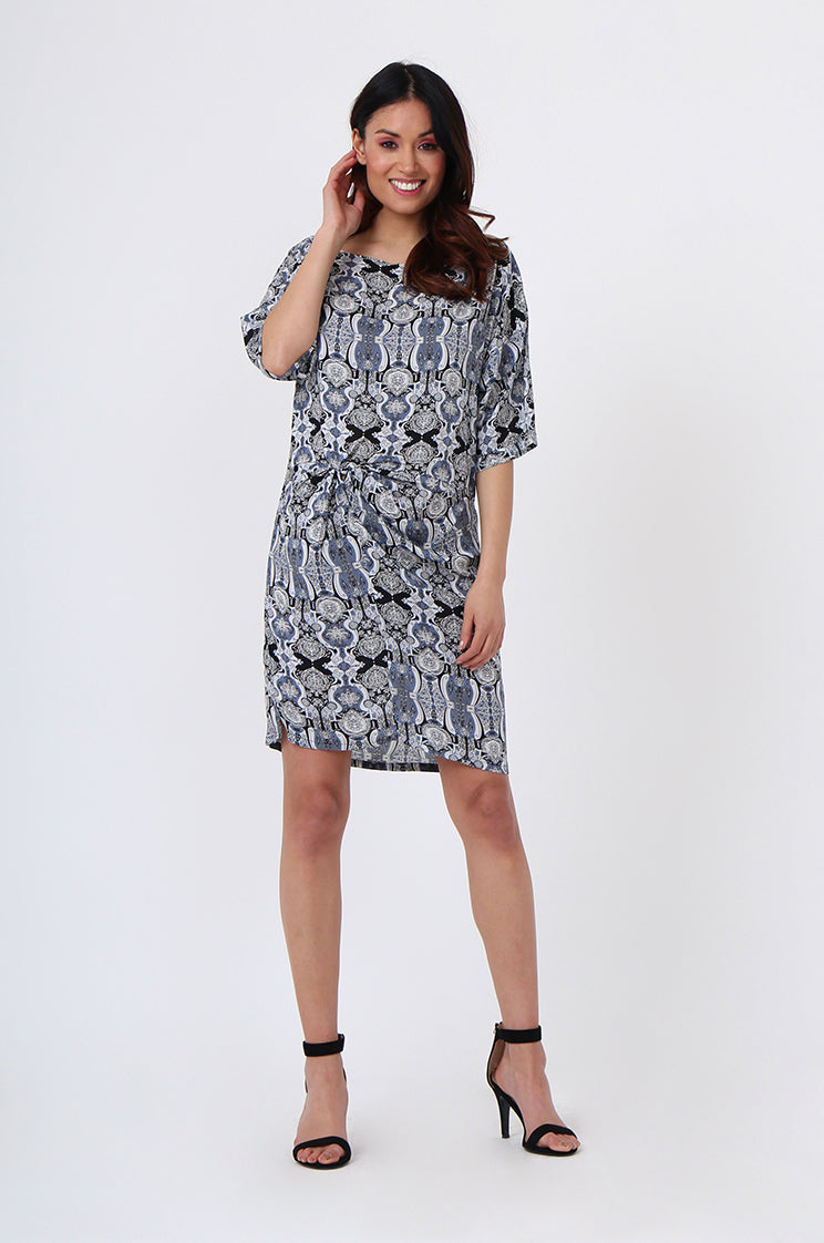 seb1045-blue knot front printed dress - xl
