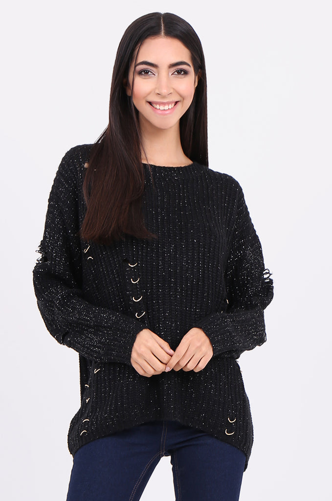 SEB2156-BLACK DISTRESSED CHAIN DETAIL JUMPER