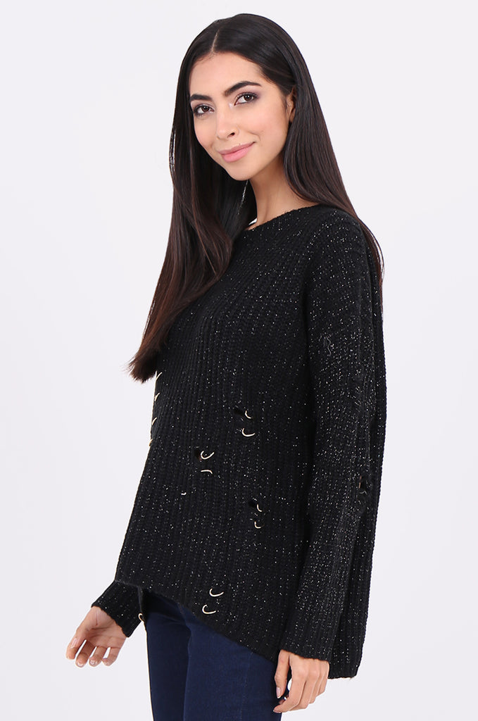 SEB2156-BLACK DISTRESSED CHAIN DETAIL JUMPER view 2