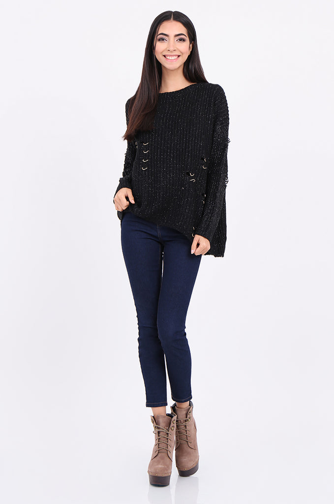 SEB2156-BLACK DISTRESSED CHAIN DETAIL JUMPER view 4