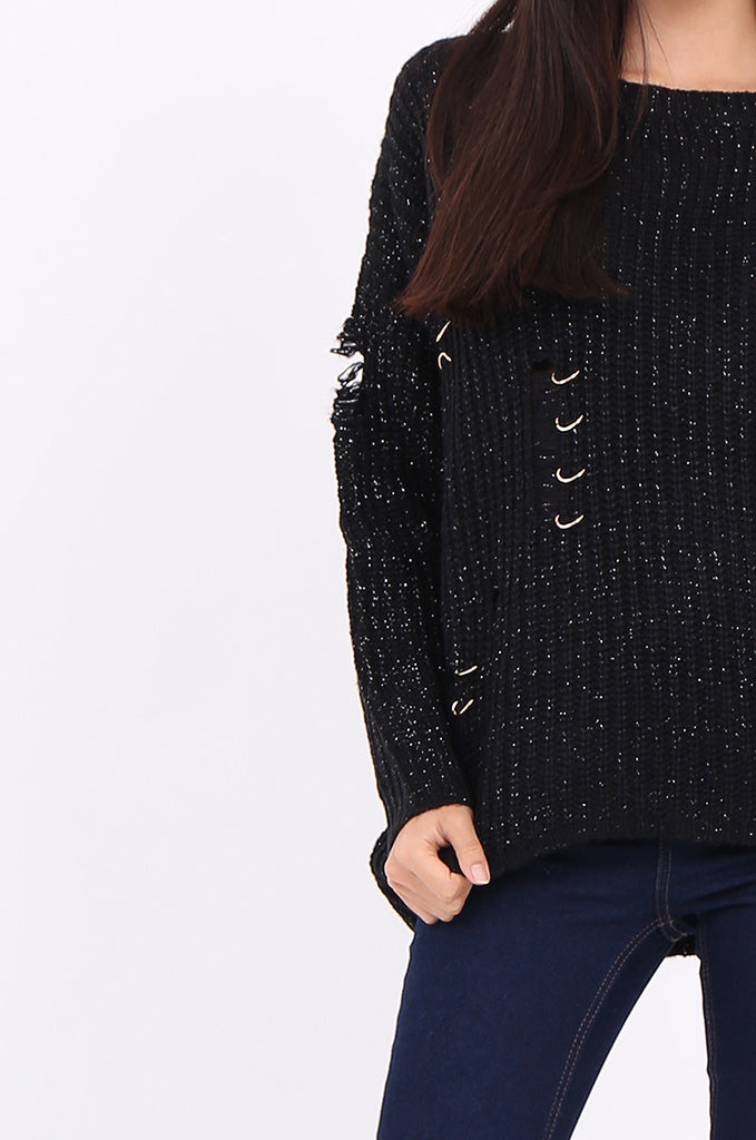 SEB2156-BLACK DISTRESSED CHAIN DETAIL JUMPER view 5
