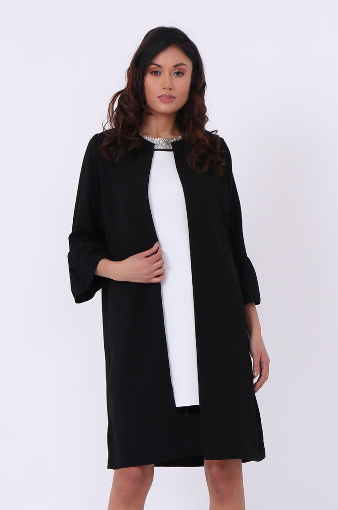 SEF0623-BLACK ROUND NECK FRILL SLEEVE JACKET view 2