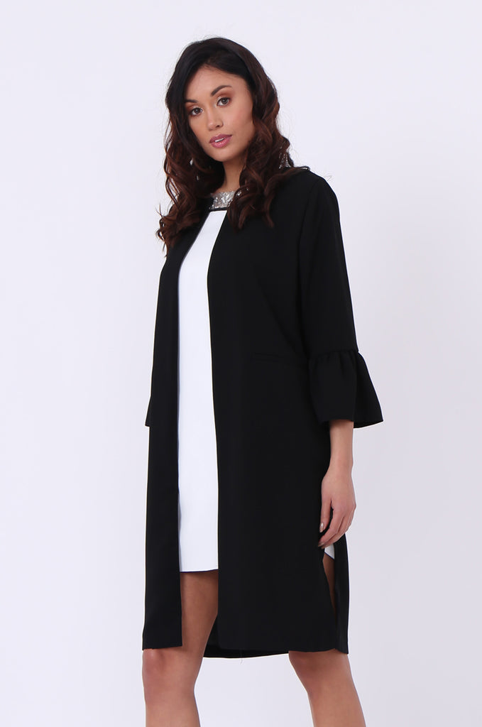 SEF0623-BLACK ROUND NECK FRILL SLEEVE JACKET view main view