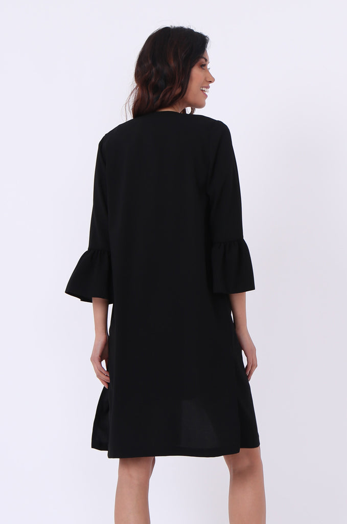 SEF0623-BLACK ROUND NECK FRILL SLEEVE JACKET view 3