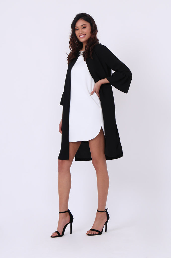 SEF0623-BLACK ROUND NECK FRILL SLEEVE JACKET view 4