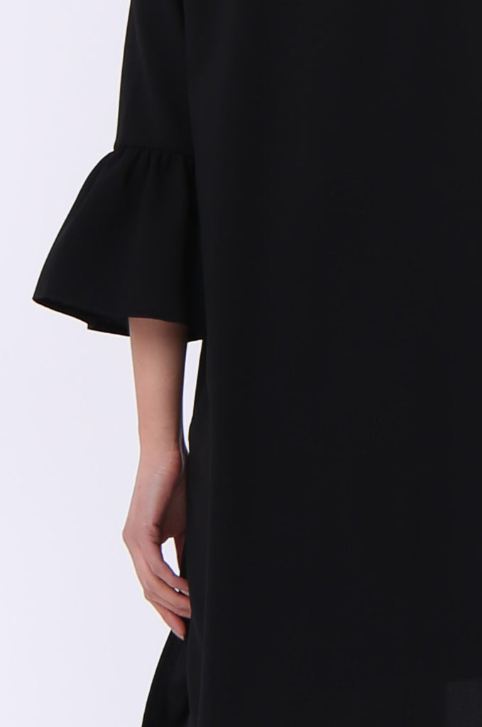 SEF0623-BLACK ROUND NECK FRILL SLEEVE JACKET view 5