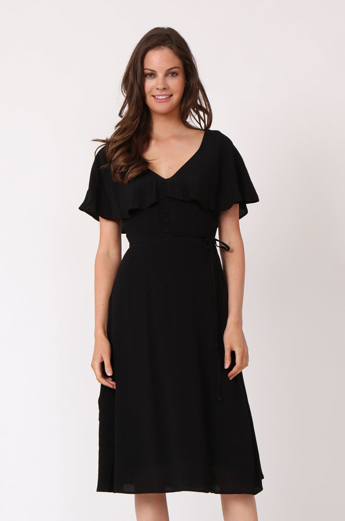 SEF1281-BLACK DEEP V-NECK BUTTON FRONT DRESS view 2