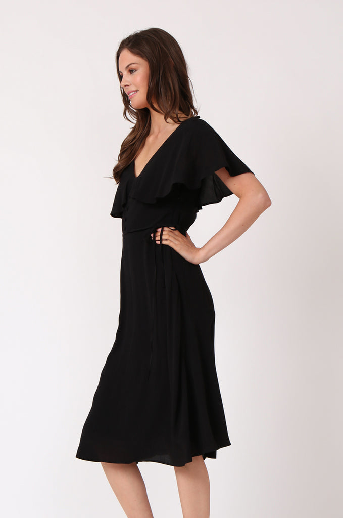 SEF1281-BLACK DEEP V-NECK BUTTON FRONT DRESS view 3