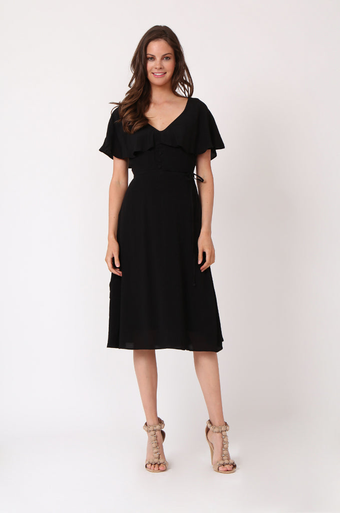 SEF1281-BLACK DEEP V-NECK BUTTON FRONT DRESS