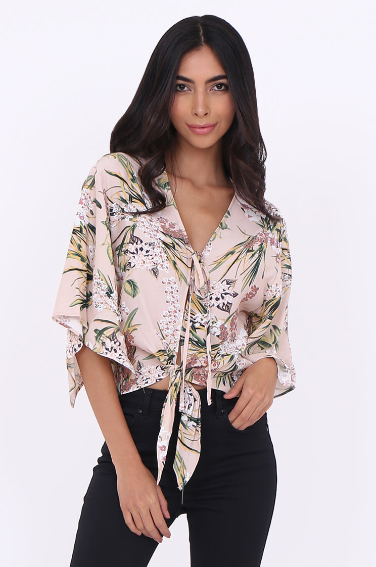 sef1710-pink floral double tie front top - 16