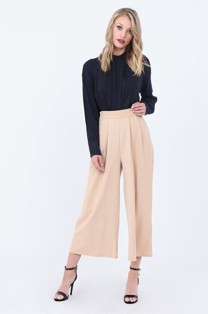 SEF1729-CAMEL PLEAT FRONT CULOTTE view main view