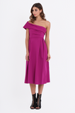 SEF2164-PINK ASYMMETRIC PLEAT SKIRT MIDI DRESS