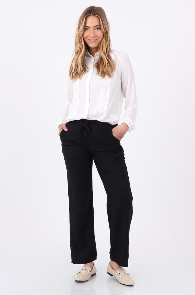 SEF2659-BLACK DRAWSTRING WAIST LINEN BLEND TROUSERS