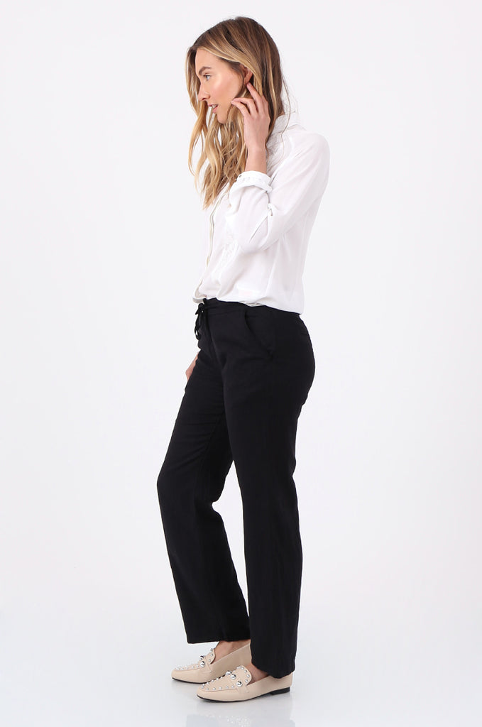 SEF2659-BLACK DRAWSTRING WAIST LINEN BLEND TROUSERS view 2