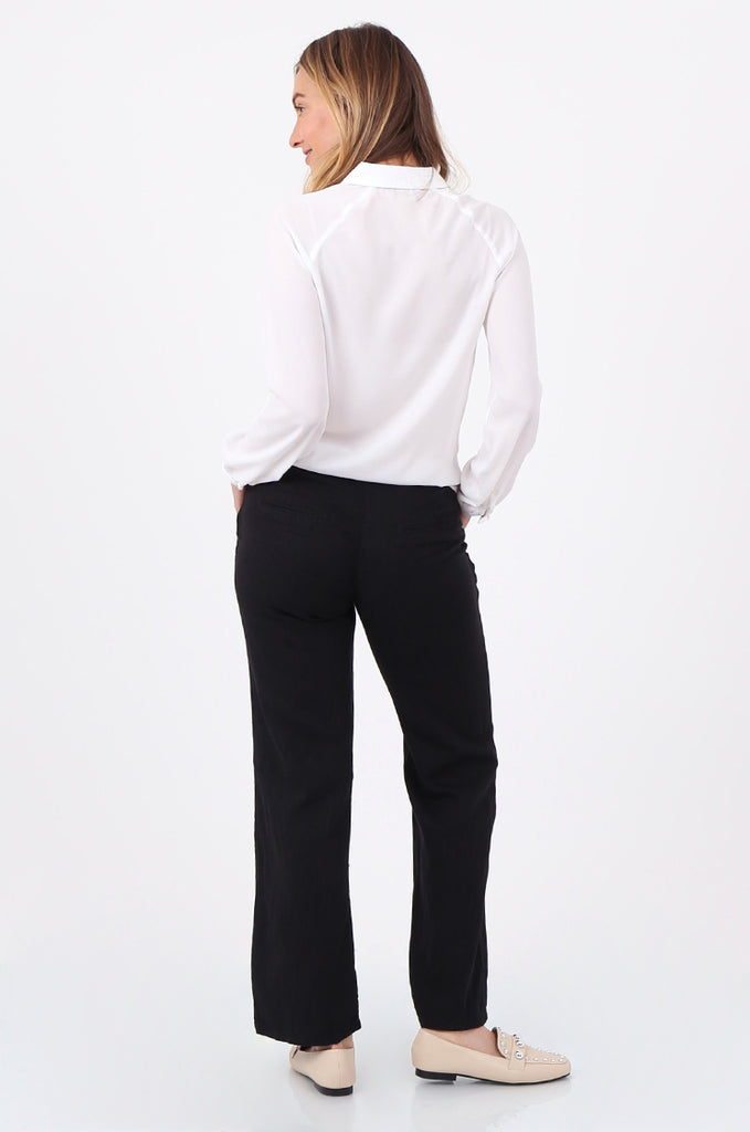 SEF2659-BLACK DRAWSTRING WAIST LINEN BLEND TROUSERS view 3