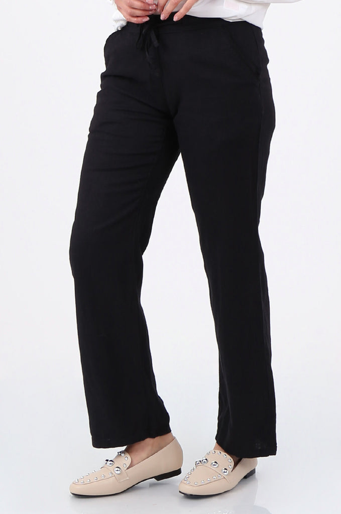 SEF2659-BLACK DRAWSTRING WAIST LINEN BLEND TROUSERS view 4