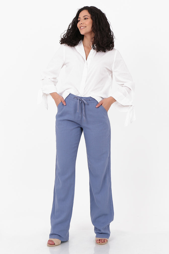 SEF2659-BLUE DRAWSTRING WAIST LINEN BLEND TROUSERS