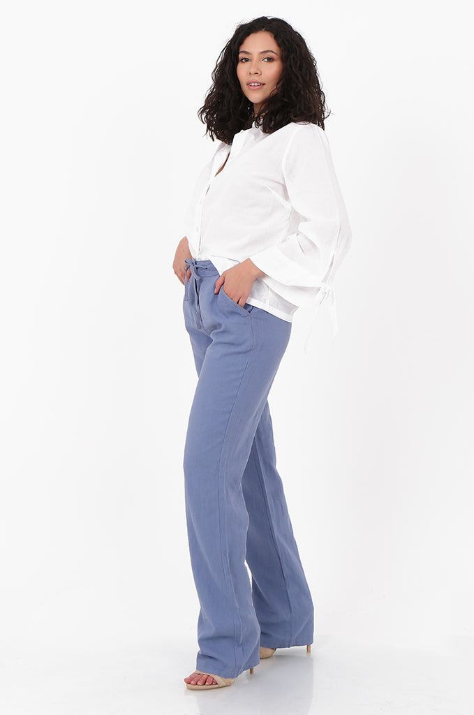 SEF2659-BLUE DRAWSTRING WAIST LINEN BLEND TROUSERS view 2