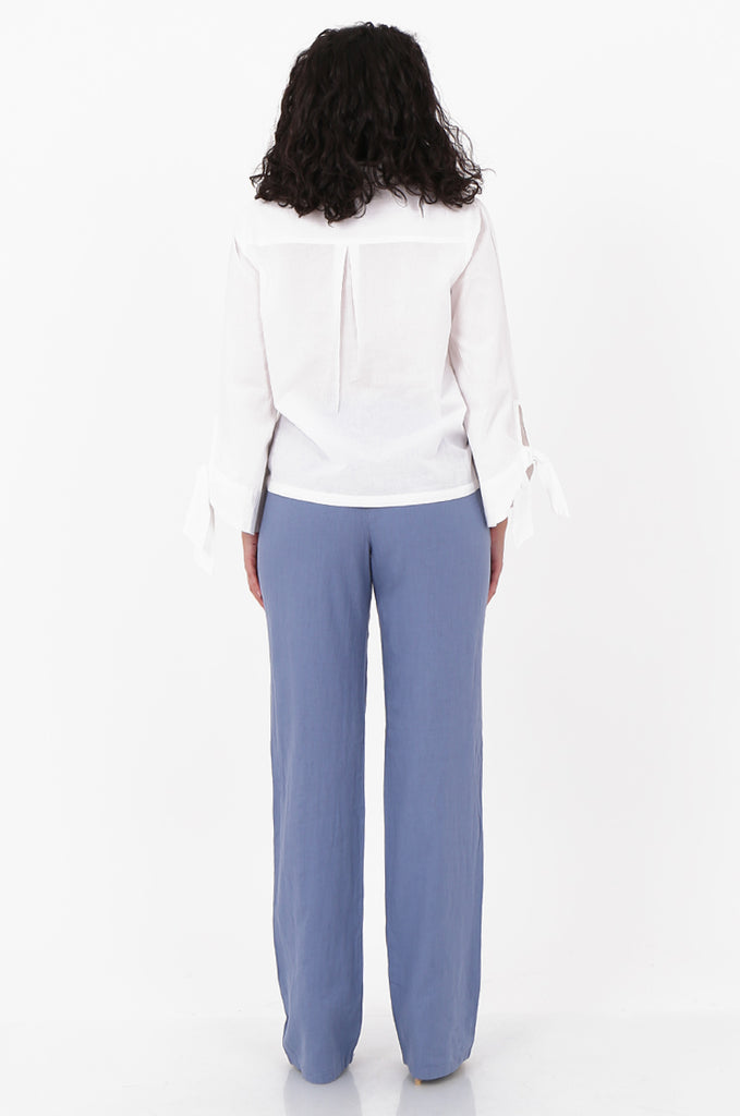 SEF2659-BLUE DRAWSTRING WAIST LINEN BLEND TROUSERS view 3