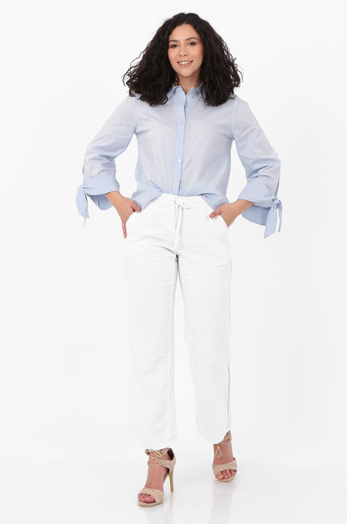 SEF2659-WHITE DRAWSTRING WAIST LINEN BLEND TROUSERS