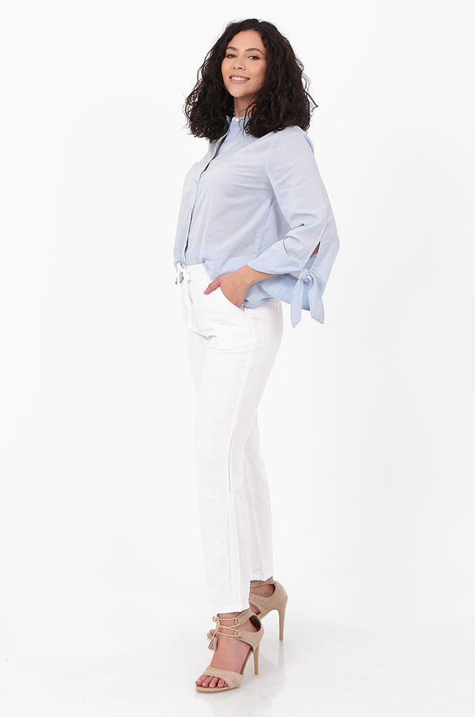 SEF2659-WHITE DRAWSTRING WAIST LINEN BLEND TROUSERS view 2