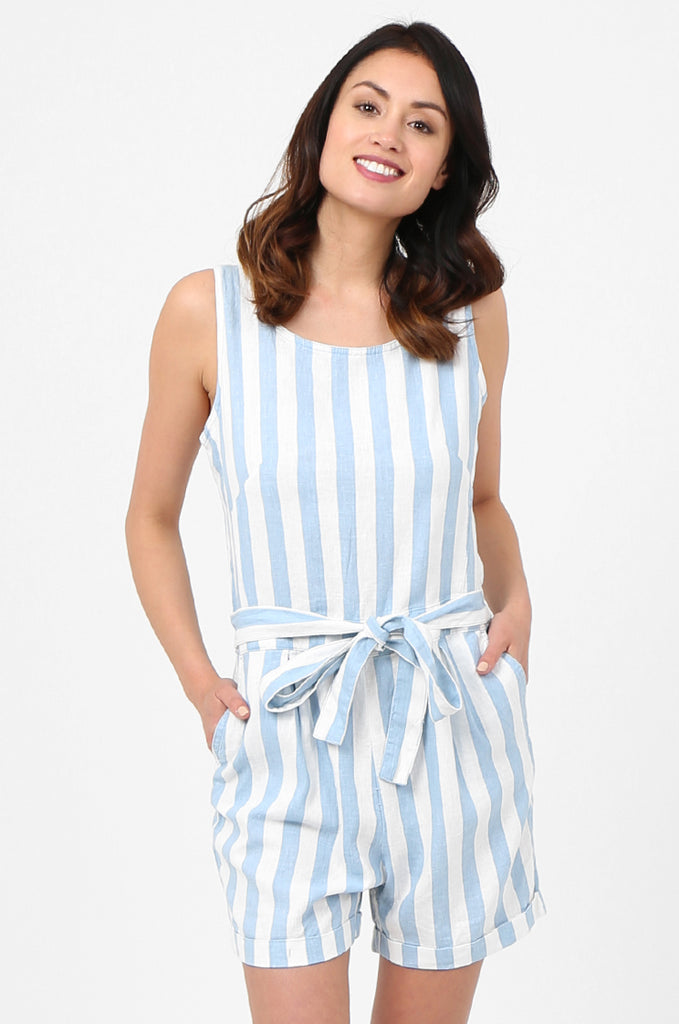 SEF2780-BLUE STRIPED TIE DETAIL LINEN BLEND PLAYSUIT view 2