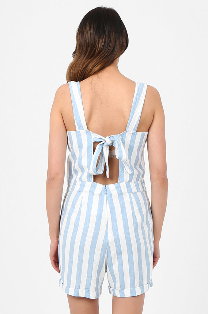 SEF2780-BLUE STRIPED TIE DETAIL LINEN BLEND PLAYSUIT view 4