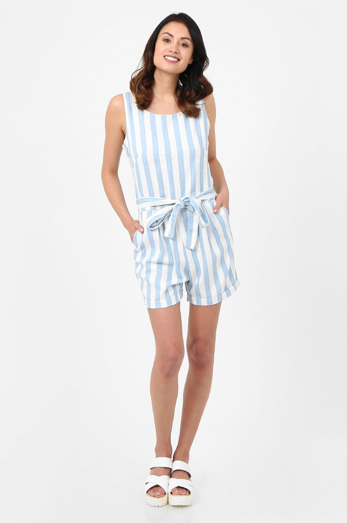 SEF2780-BLUE STRIPED TIE DETAIL LINEN BLEND PLAYSUIT