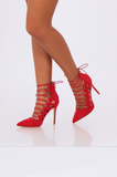 SEW2177-RED POINT TOE LACE UP STILETTOS