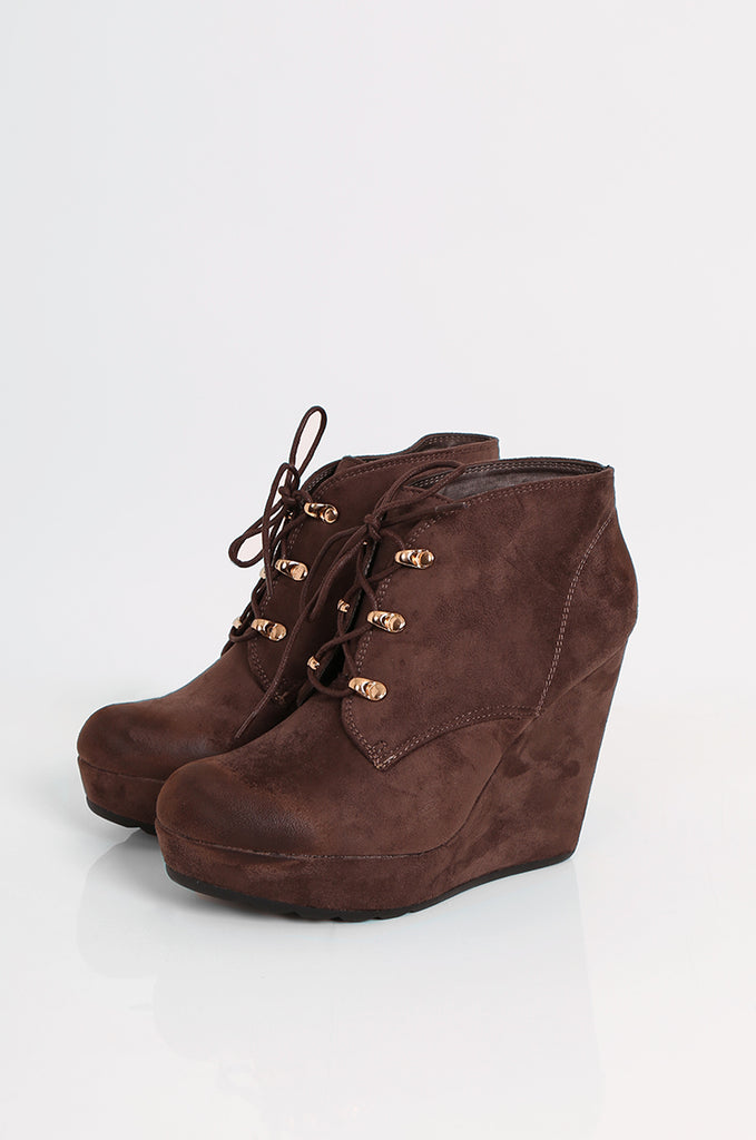 SEW2185-BROWN LACE UP WEDGE HEEL BOOTS