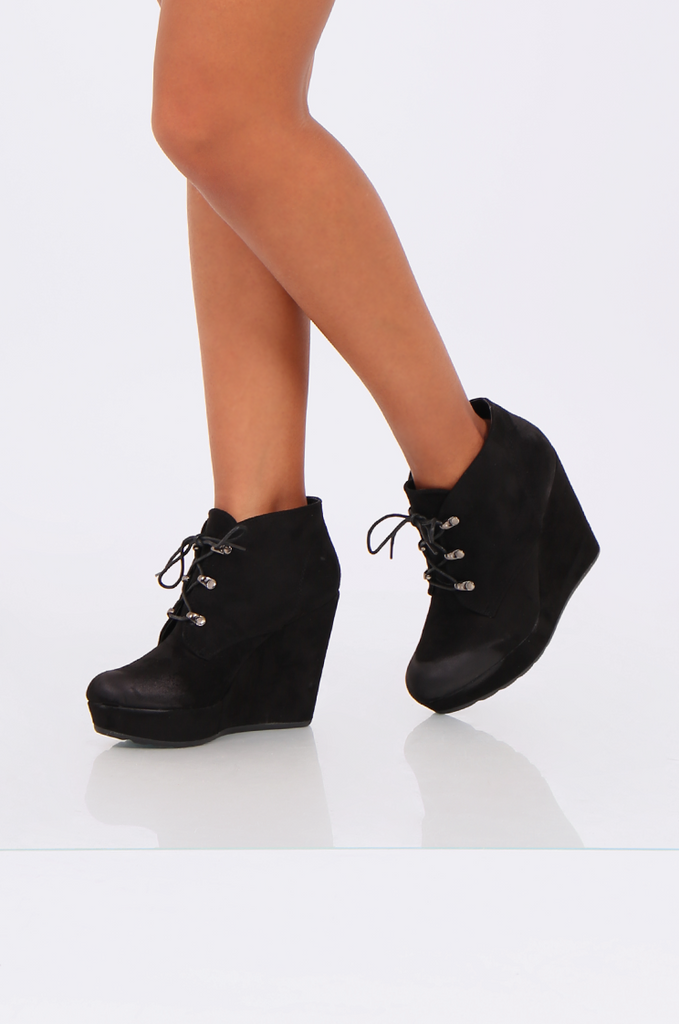 SEW2185-BLACK LACE UP WEDGE HEEL BOOTS view 2