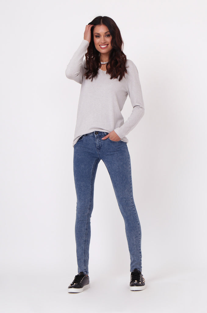 SF0021-BLUE BASIC STRETCH SKINNY JEANS view main view