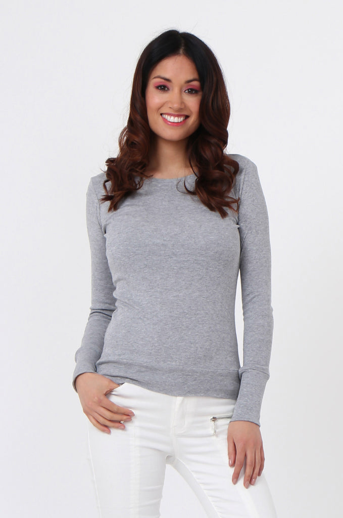 SF0063-GREY BASIC SCOOP NECK LONG SLEEVE TEE