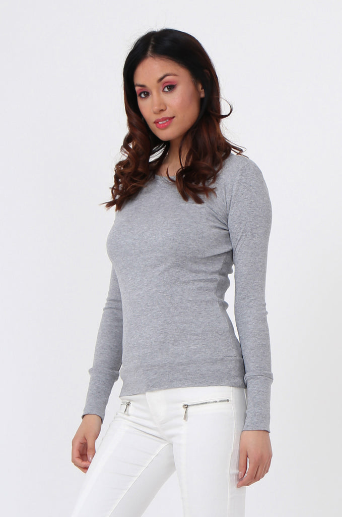 SF0063-GREY BASIC SCOOP NECK LONG SLEEVE TEE view 2