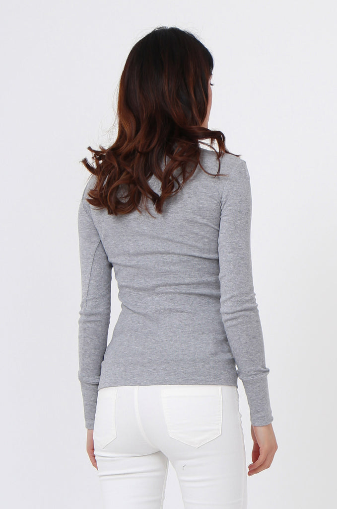 SF0063-GREY BASIC SCOOP NECK LONG SLEEVE TEE view 3
