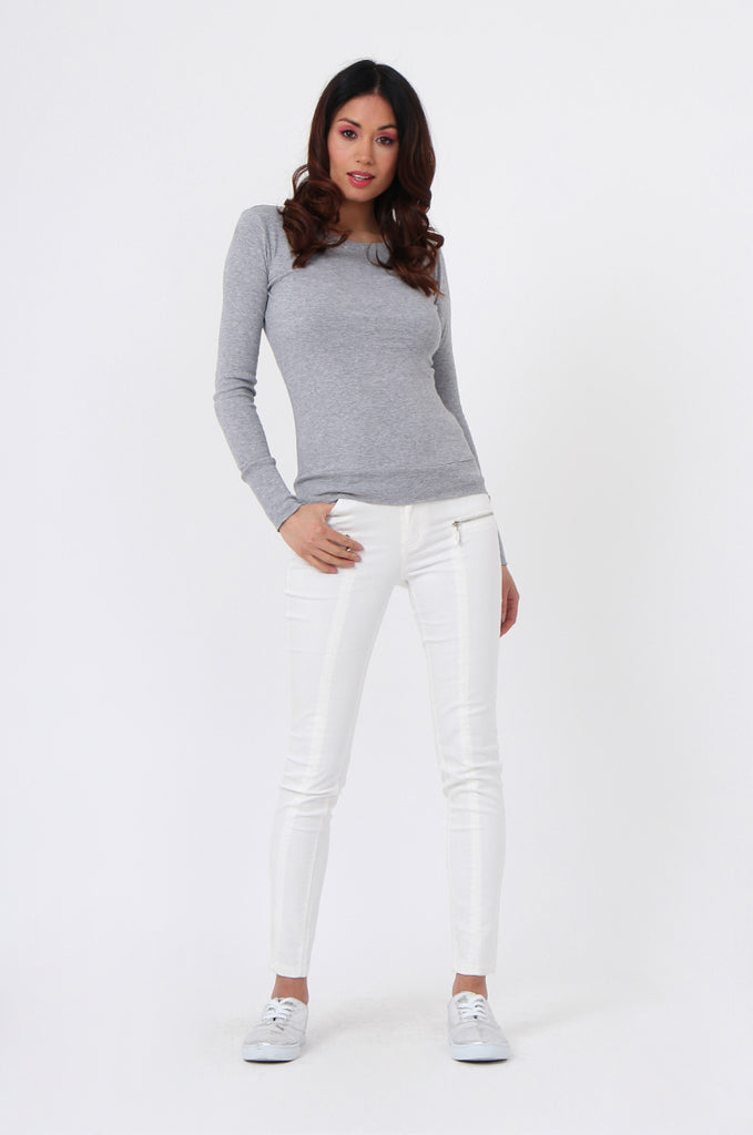 SF0063-GREY BASIC SCOOP NECK LONG SLEEVE TEE view 4
