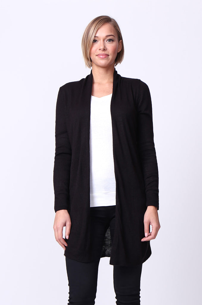 SF0095-BLACK LONGLINE LONG SLEEVE KNIT CARDIGAN
