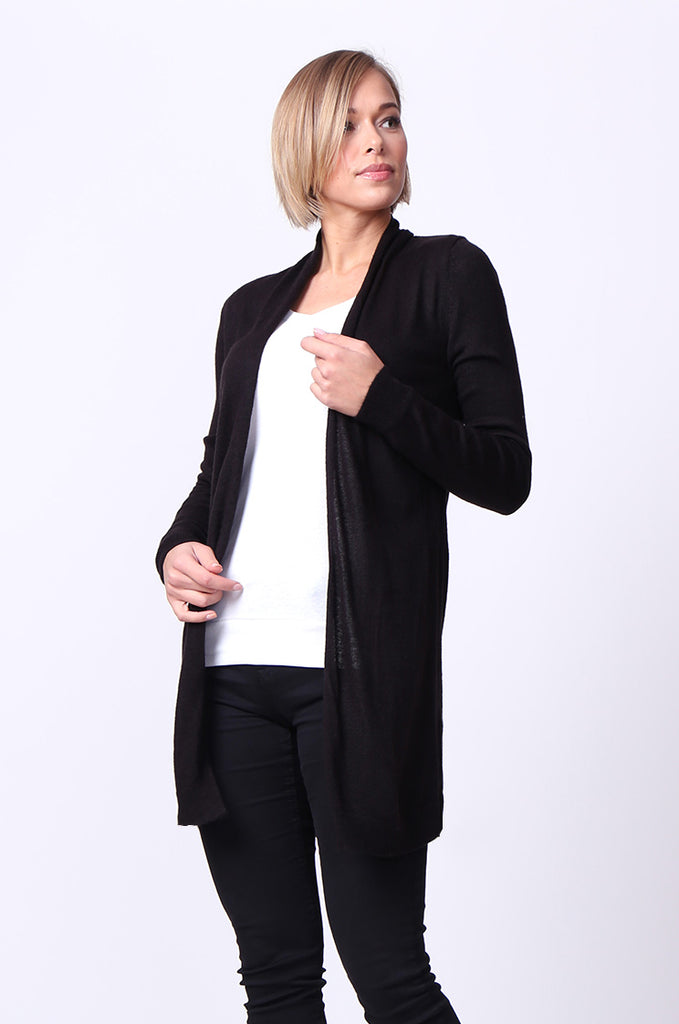 SF0095-BLACK LONGLINE LONG SLEEVE KNIT CARDIGAN view 2