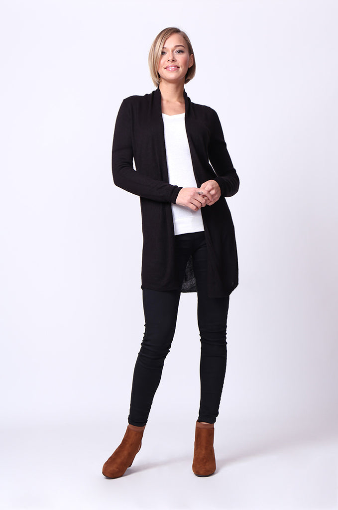 SF0095-BLACK LONGLINE LONG SLEEVE KNIT CARDIGAN view 4