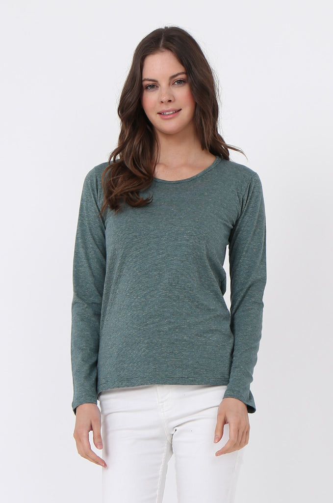 SF0157-GREEN BASIC STRIPED LONG SLEEVE CREW NECK