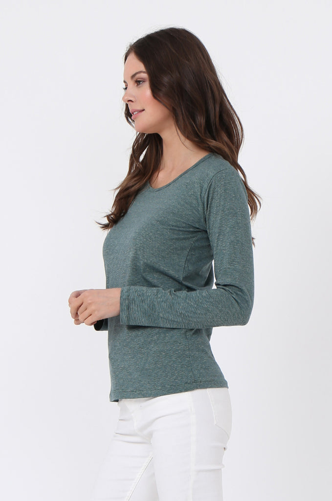 SF0157-GREEN BASIC STRIPED LONG SLEEVE CREW NECK view 2