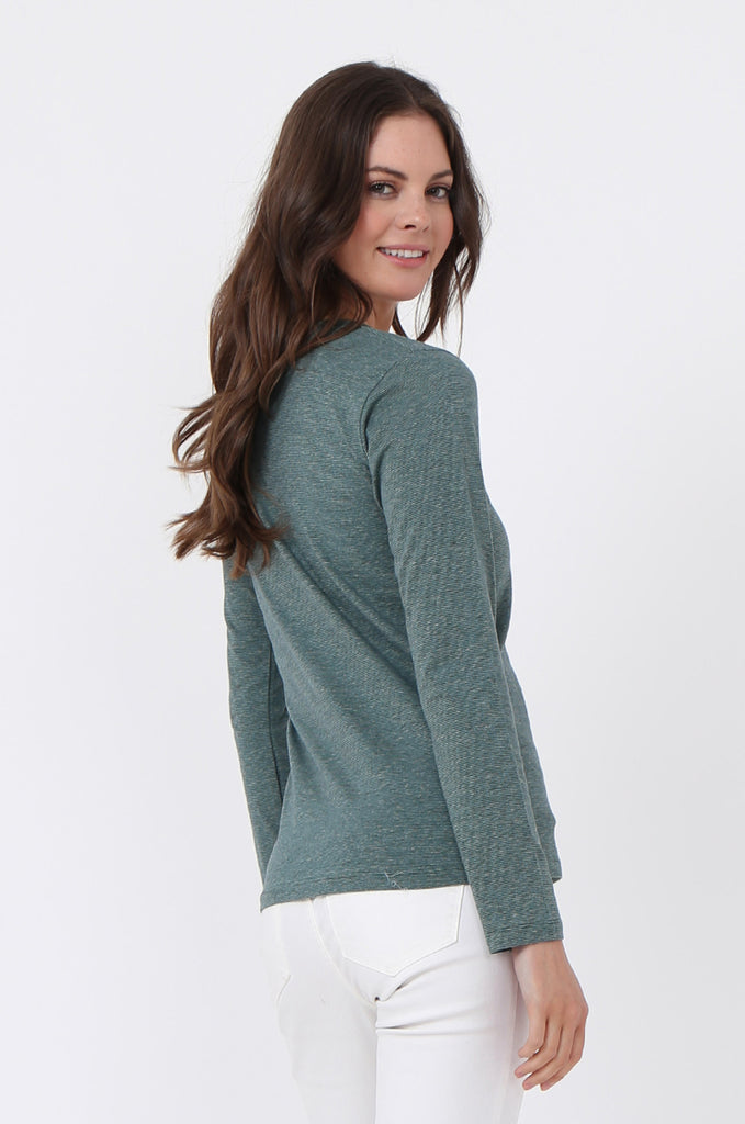 SF0157-GREEN BASIC STRIPED LONG SLEEVE CREW NECK view 3