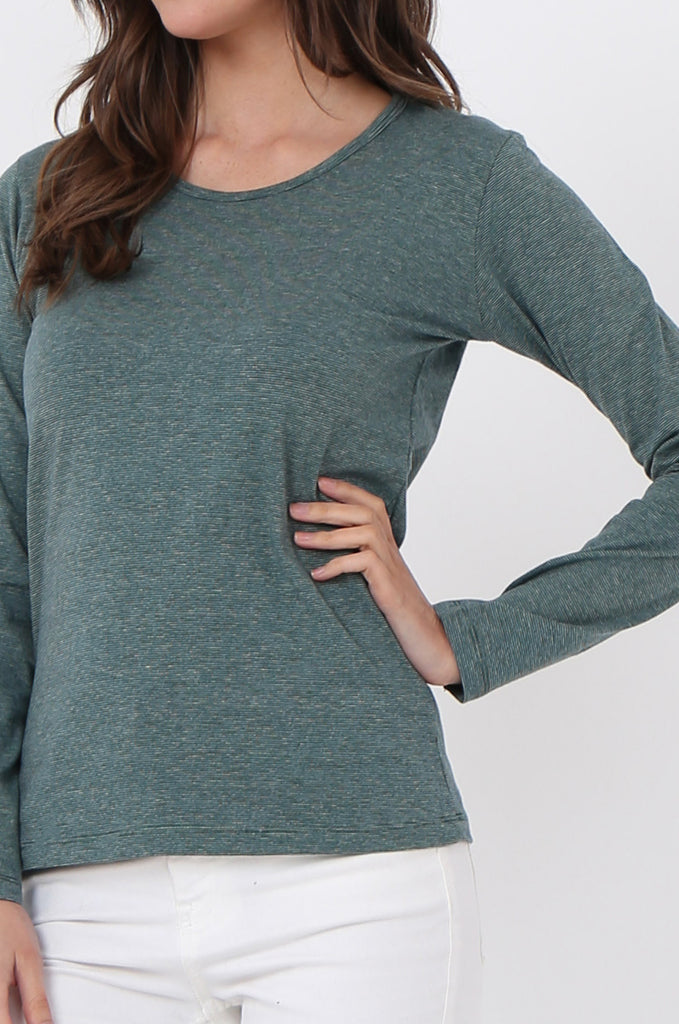 SF0157-GREEN BASIC STRIPED LONG SLEEVE CREW NECK view 5