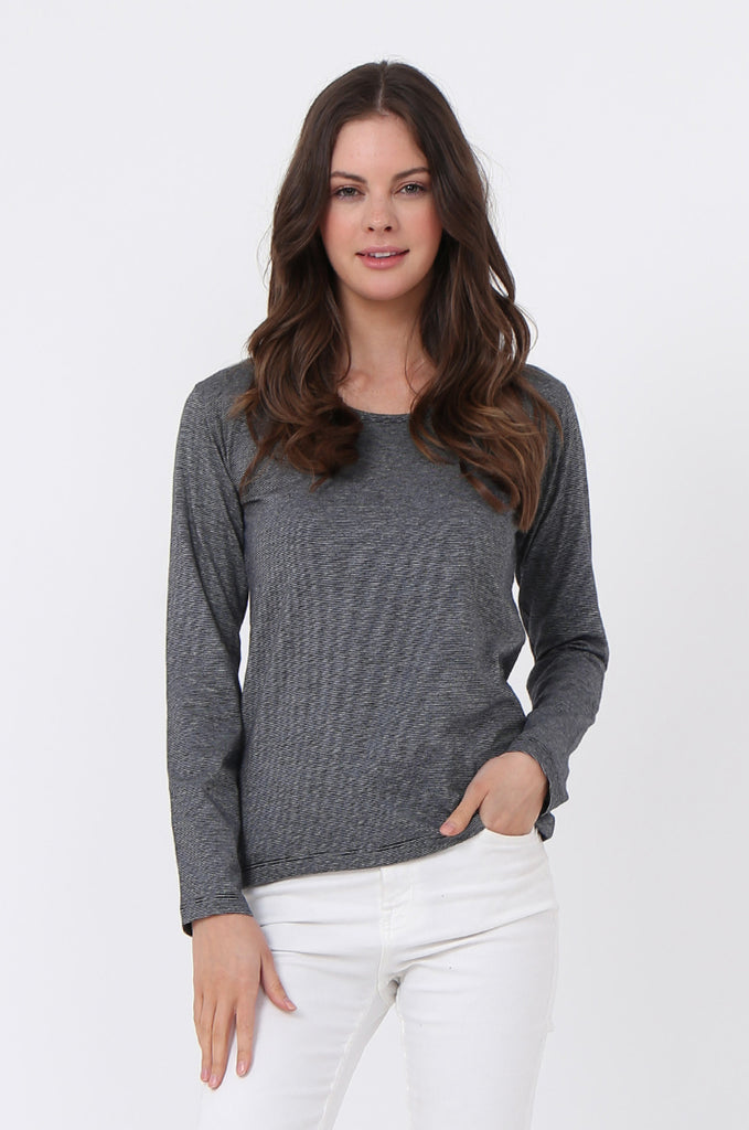 SF0157-GREY BASIC STRIPED LONG SLEEVE CREW NECK