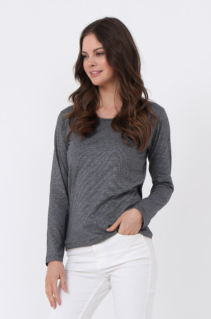 SF0157-GREY BASIC STRIPED LONG SLEEVE CREW NECK view 2