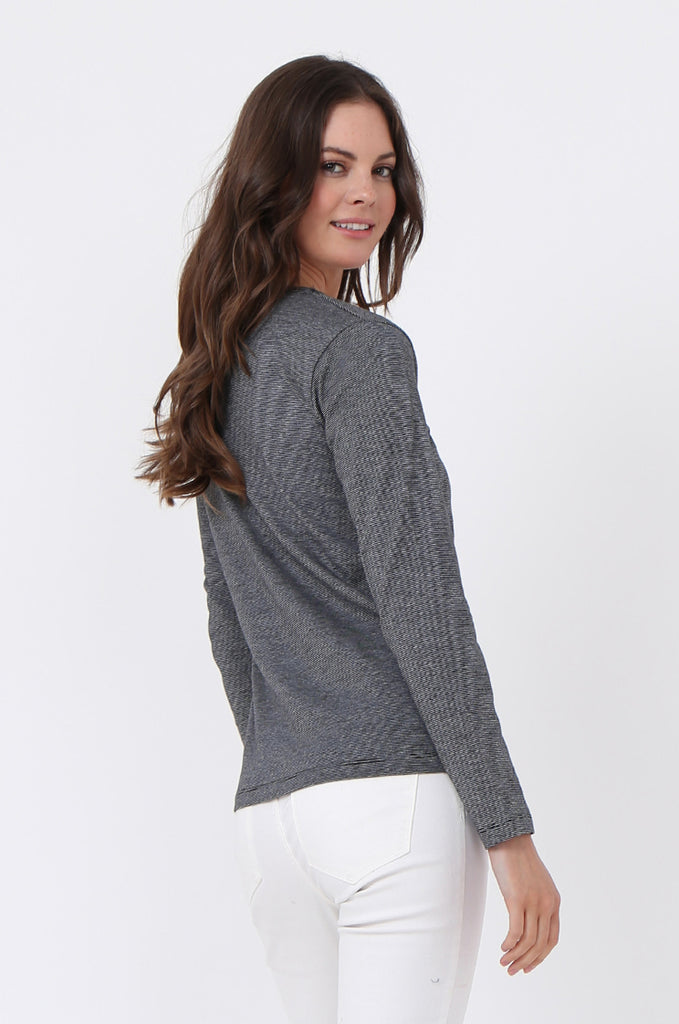 SF0157-GREY BASIC STRIPED LONG SLEEVE CREW NECK view 3