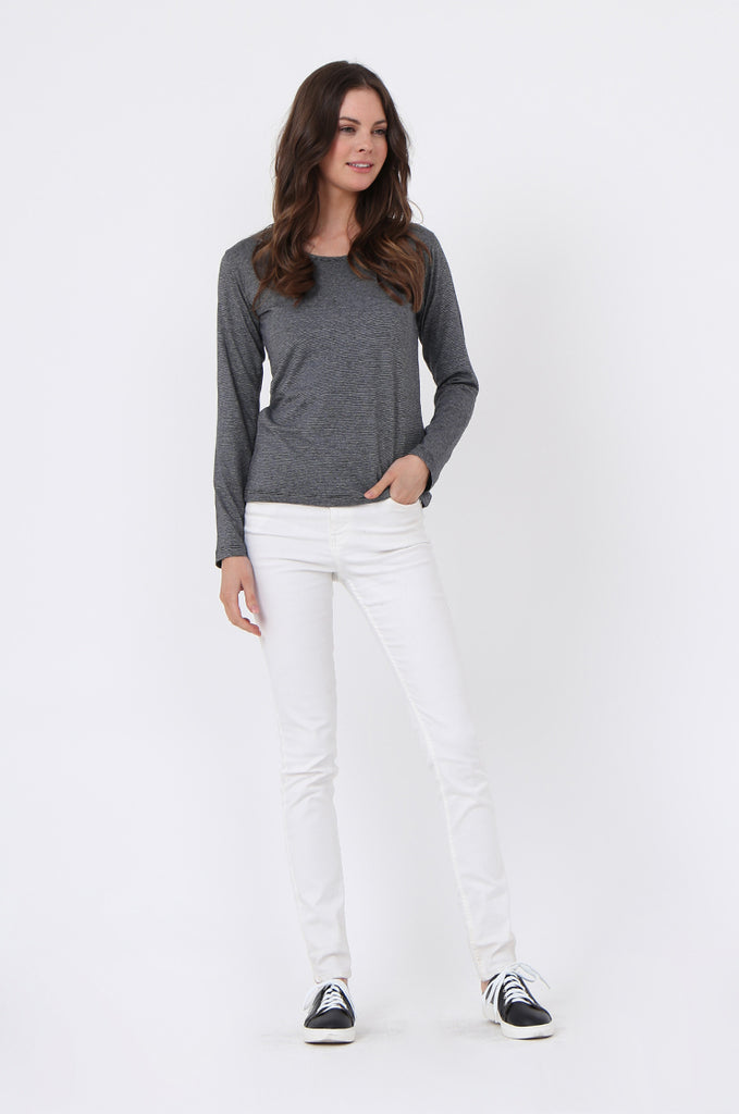SF0157-GREY BASIC STRIPED LONG SLEEVE CREW NECK view 4