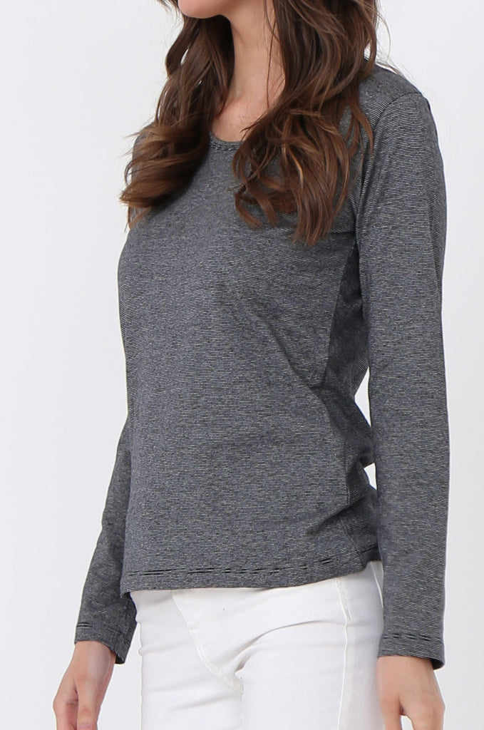 SF0157-GREY BASIC STRIPED LONG SLEEVE CREW NECK view 5