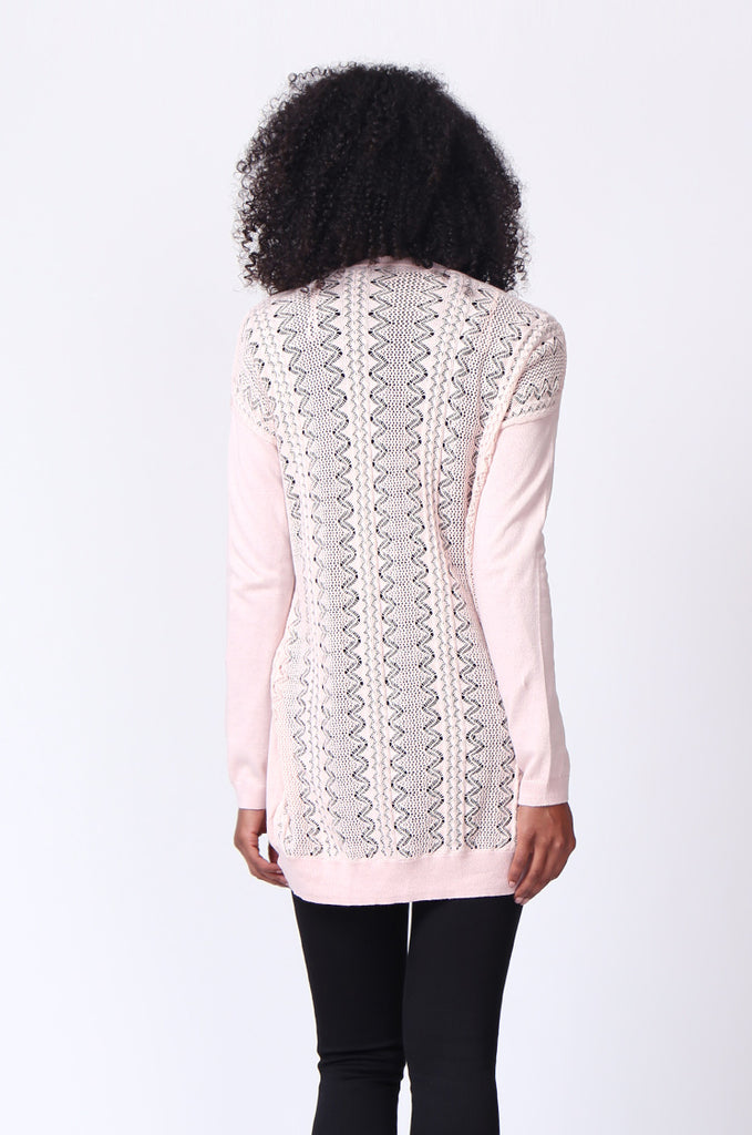 SF0229-PINK CROCHET BACK CARDIGAN view 3