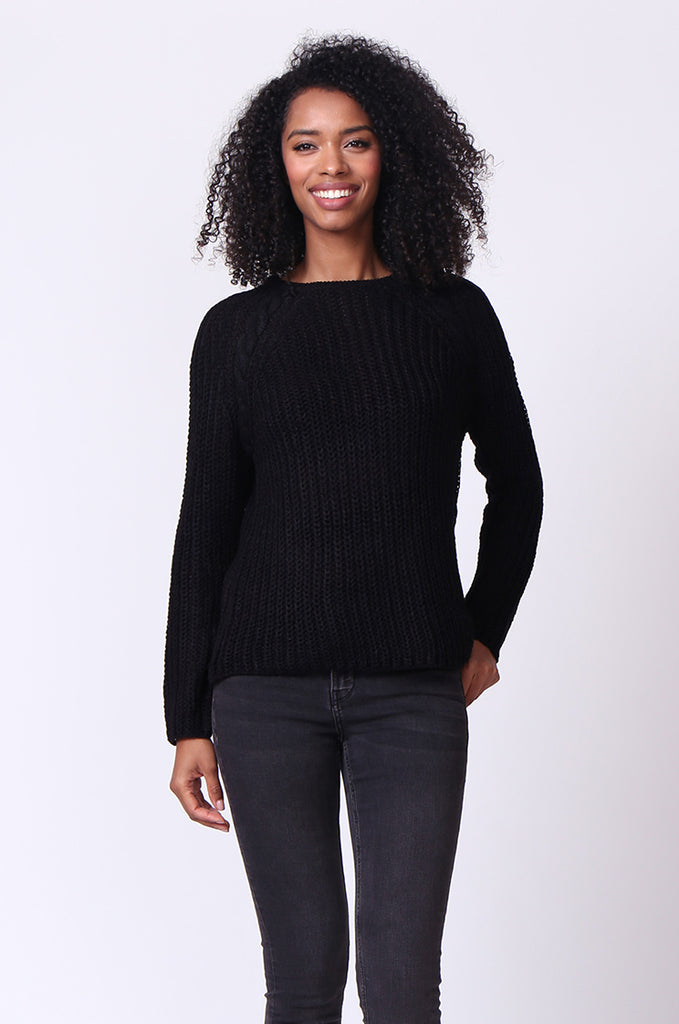 SF0235-BLACK CHUNKY CABLE KNIT JUMPER